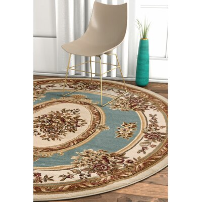 Pickett Light Blue Area Rug Rug Size: Round 53
