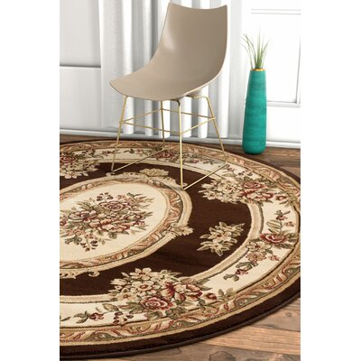 Pickett Brown Area Rug Rug Size: Round 53