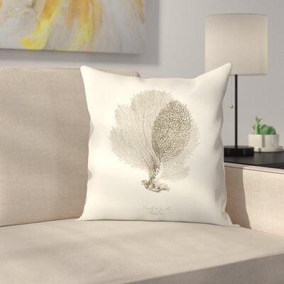 Greige Sea Fan Throw Pillow Size: 18 x 18