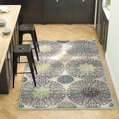 Darcio Rosette Gray Area Rug Rug Size: Rectangle 4 x 6