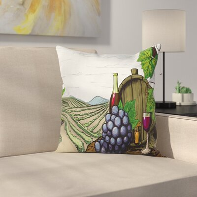 Wine Views of Vineyards Grapes Square Pillow Cover Size: 24 x 24
