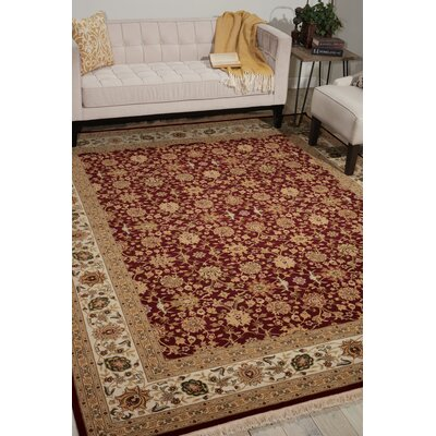 Dunluce Hand-Knotted Wool Burgundy/Beige Area Rug