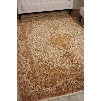 Pickrell Hand-Knotted Wool Beige Area Rug Rug Size: Rectangle 86 x 116
