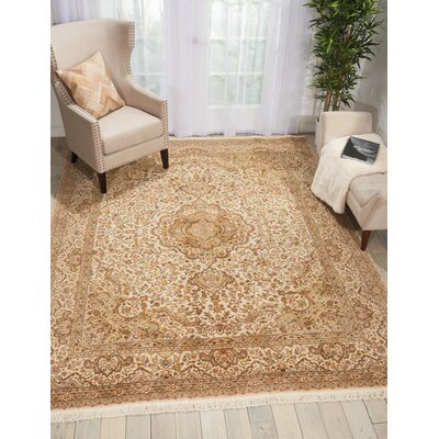 Pickrell Hand-Knotted Wool Beige Area Rug Rug Size: Retangle 86 x 116