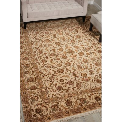 Dunluce Hand-Knotted Wool Beige Area Rug Rug Size: Rectangle 79 x 99