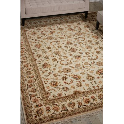 Dunluce Hand-Knotted Wool Ivory/Beige  Area Rug Rug Size: Rectangle 86 x 116