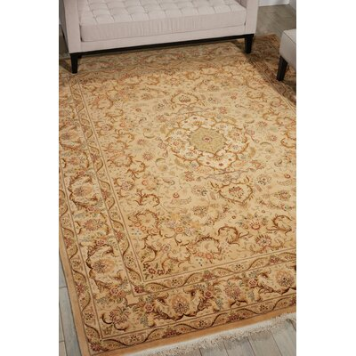 Dunluce Hand-Knotted Wool Beige Area Rug Rug Size: Retangle 86 x 116