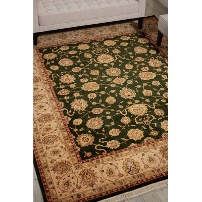 Dunluce Hand-Knotted Wool Emerald/Beige Area Rug