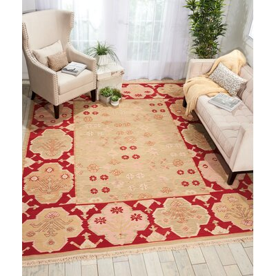 Mooneyhan Hand-Woven Wool Beige/Red Area Rug