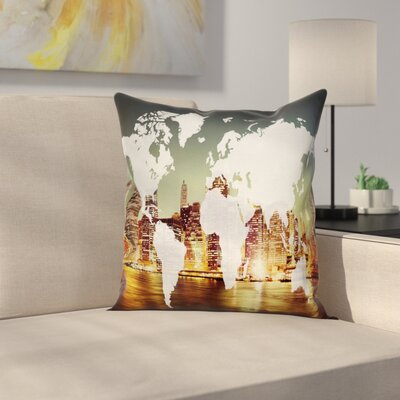 New York City Cartography Square Pillow Cover Size: 24 x 24