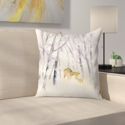 Snowflake Forest Deer Throw Pillow Size: 14 x 14