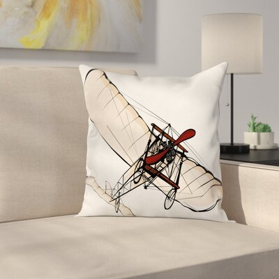 Vintage Airplane Old Engine Square Pillow Cover Size: 24 x 24