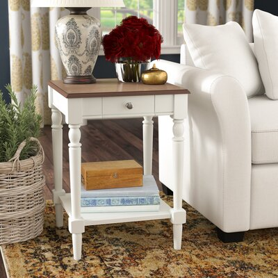 Carlisle End Table with Storage Top Color: Driftwood/White