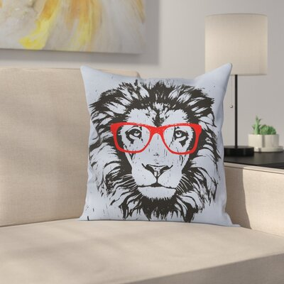 Lion and Hipster Glasses Cushion Pillow Cover Size: 24 x 24