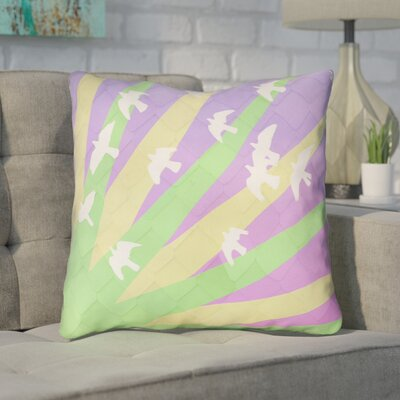 Enciso Birds and Sun Square Throw Pillow Color: Green/Yellow/Purple, Size: 14 H x 14 W