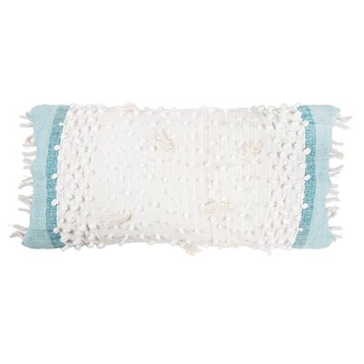 Ziggy Polyester Blend Lumbar Pillow Color: Ivory/Aqua
