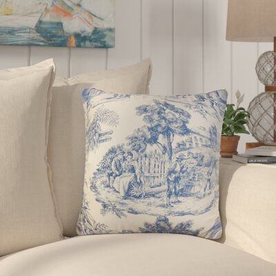Nataliya Toile Cotton Throw Pillow Color: Blue