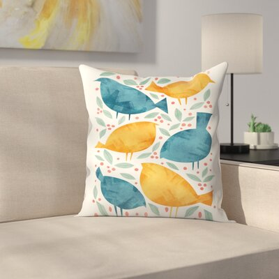 Tracie Andrews Birds Throw Pillow Size: 16 x 16