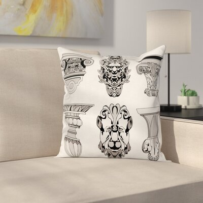Roman Architecture Square Cushion Pillow Cover Size: 16