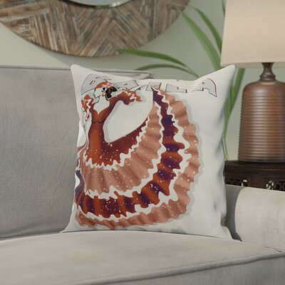 Hirschman Dancer Baila Word Print Indoor/Outdoor Throw Pillow Color: Red Orange, Size: 20 x 20