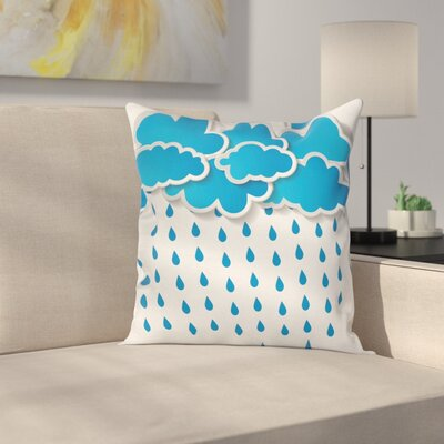 Puffy Clouds Rainy Day Square Pillow Cover Size: 16 x 16