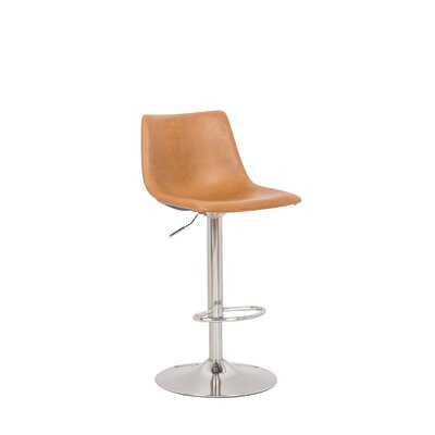 Marenco Hydraulic Liver Adjustable Height Swivel Bar Stool Color: Tan