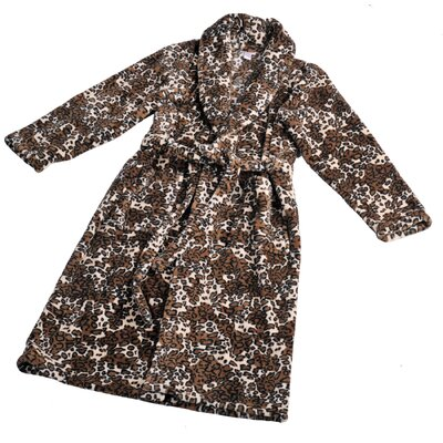 Jaguar Microfiber Flannel Fleece Bathrobe Size: Large