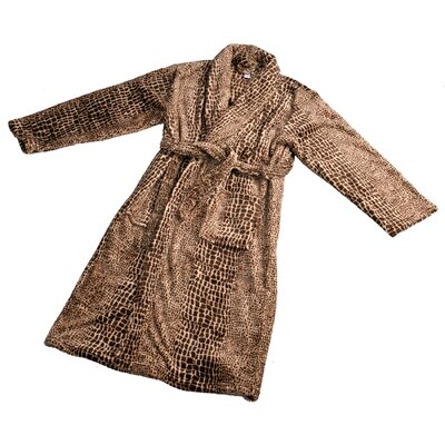 Alligator Microfiber Flannel Fleece Bathrobe Size: Small