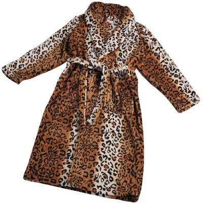 St Leopard Microfiber Flannel Fleece Bathrobe Size: Small