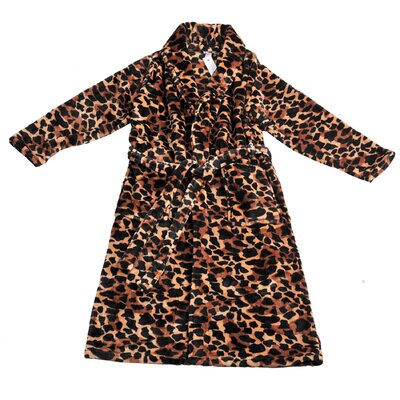 Big Giraffe Microfiber Flannel Fleece Bathrobe Size: Small