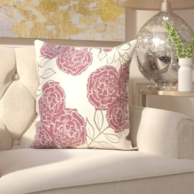 Birness Flower Throw Pillow Size: 16 H x 16 W, Color: Ivory / Dark Purple