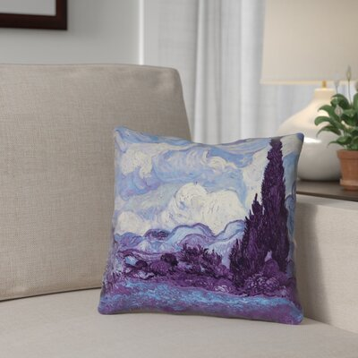 Morley Wheat Field with Cypresses Square 100% Cotton Throw Pillow Size: 16 x 16