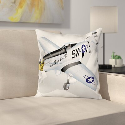 Vintage Airplane Mustang Dallas Square Pillow Cover Size: 24 x 24