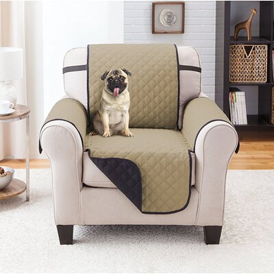 Reversible Armchair Slipcover Upholstery: Black/Taupe