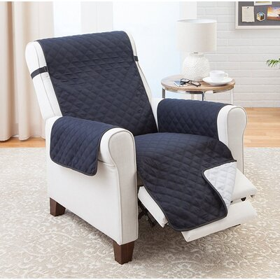 Reversible Recliner Slipcover Upholstery: Black/Gray