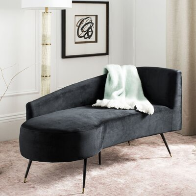 Sheena Settee Chaise Lounge Upholstery: Black