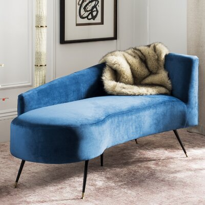 Sheena Settee Chaise Lounge Upholstery: Navy