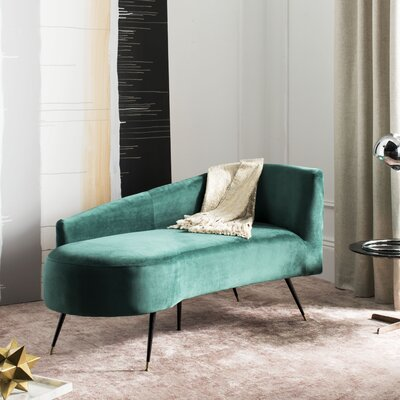 Sheena Settee Chaise Lounge Upholstery: Emerald