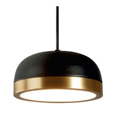 Tooy Molly 1-Light LED Inverted Pendant Shade Color: Black/Brass, Size: 6.5 H x 15 W x 15 D