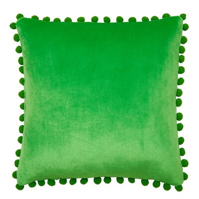 Denny Pom Pom Throw Pillow Color: Green