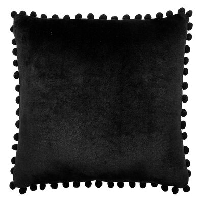 Denny Pom Pom Throw Pillow Color: Black