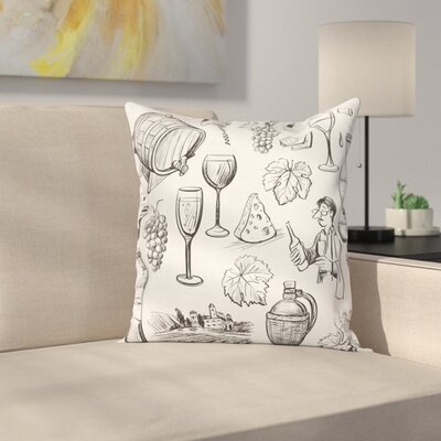 Wine Gourmet Wine Set Sketchy Square Pillow Cover Size: 18 x 18