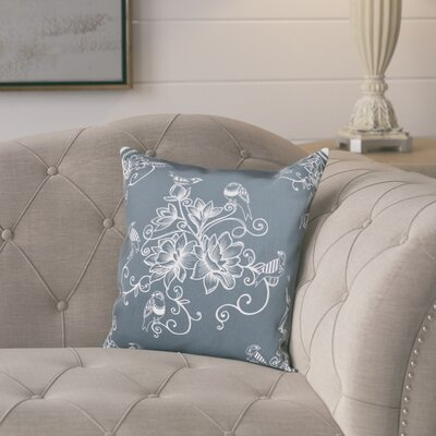 Cecilia Morning Birds Floral Print Throw Pillow Size: 16 H x 16 W, Color: Gray