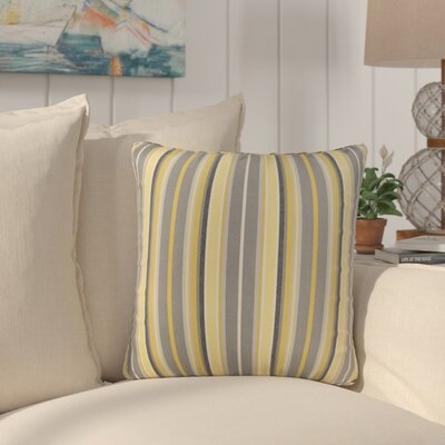Livia Stripe Indoor/Outdoor Sunbrella Throw Pillow Size: 18 H x 18 W x 6 D, Color: Yellow Gray