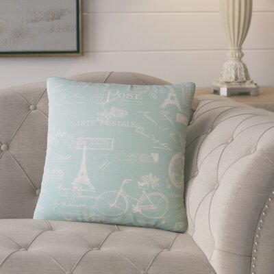 Banat Typography Cotton Throw Pillow Color: Light Blue