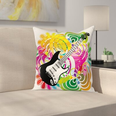 Hawaiian Colorful Square Pillow Cover Size: 24 x 24