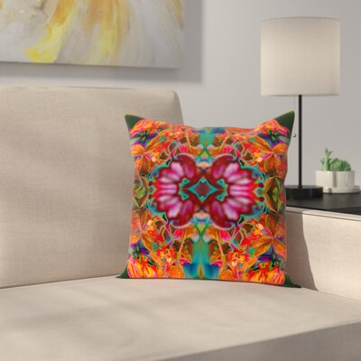 Orchids Square Outdoor Throw Pillow Size: 20 H x 20 W x 2 D, Color: Orange/Green