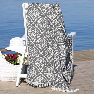 Damask Delight Pestemal Beach Towel Color: Black