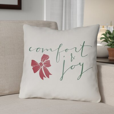 Comfort & Joy Indoor/Outdoor throw cushion Size: 20 H x 20 W x 4 D, Color: White  Green