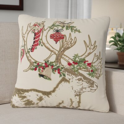 Deer 100% Cotton Throw Pillow